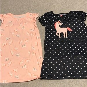 2 Unicorn Nightgowns in size 3t